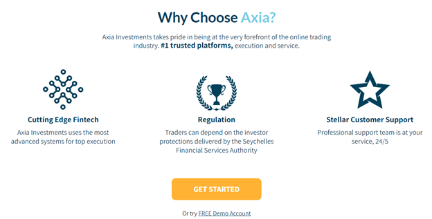 Axia Investments trading benefits